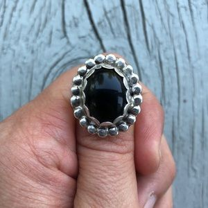 Vintage Sterling Black Onyx Bubble Ring